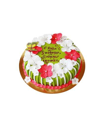 Торт с цветами и бабочкой