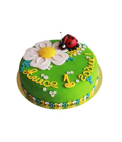 Торт Божья коровка и цветок