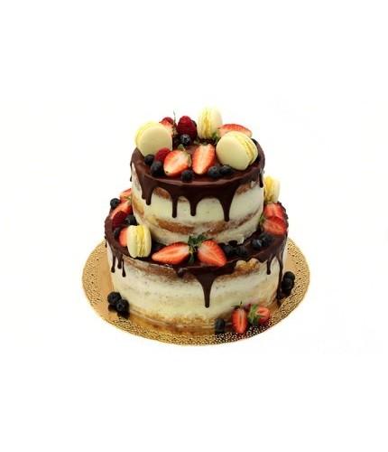 Открытый торт с клубникой