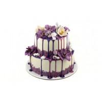 Фиолетовый торт с цветами