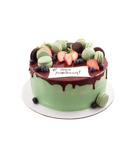 Зеленый торт с Macarons