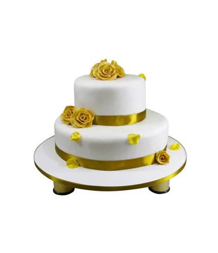 Свадебный торт с золотыми розами