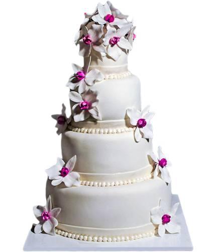 Торт с бело-фиолетовыми орхидеями