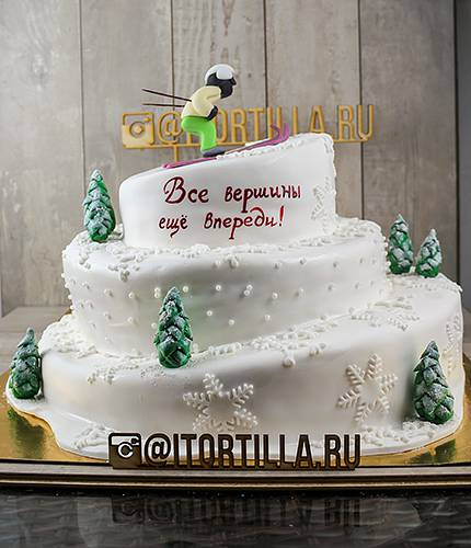 Торт лыжник на горе