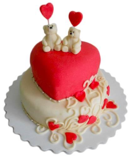 Торт мишки на сердце