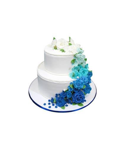 Торт Белые и синие розы