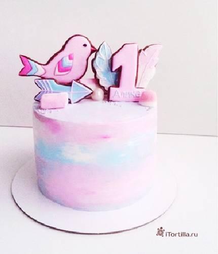 Торт на годик с птичками