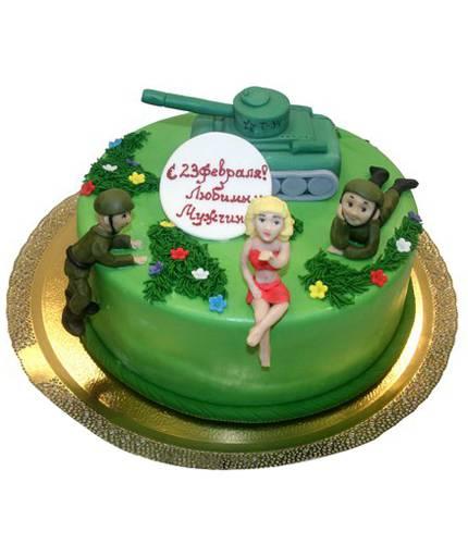 Торт девушка и военные
