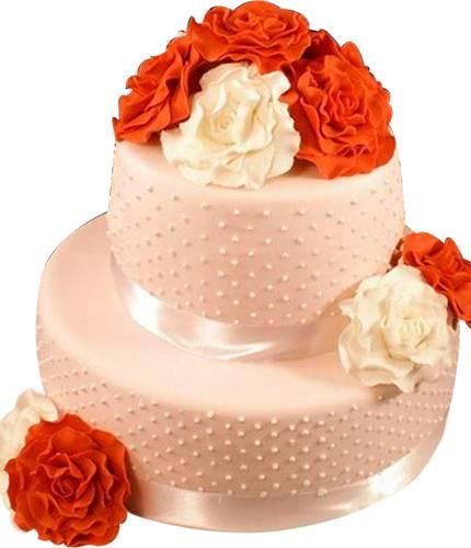 Торт с большими цветами