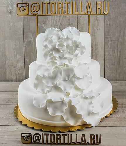 Торт с белыми петуньями