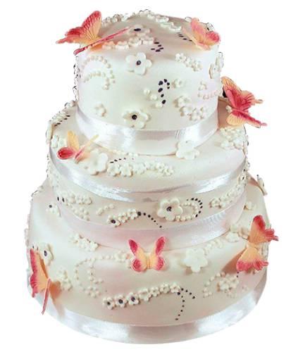 Торт с цветными бабочками