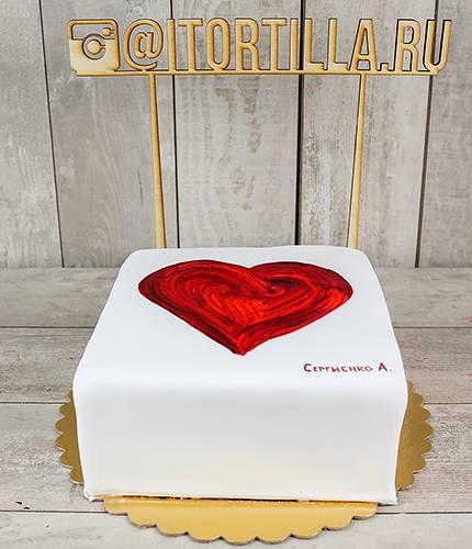 Торт акварельное сердце