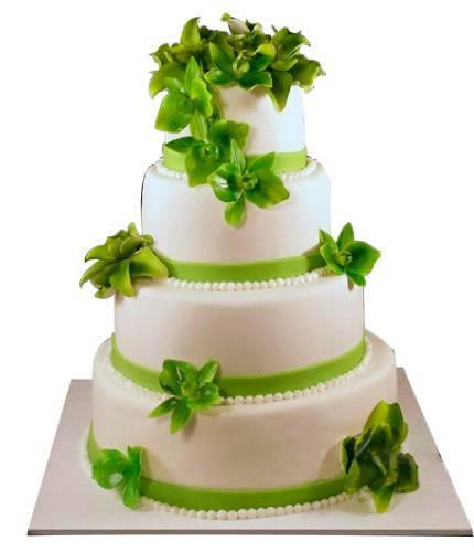 Торт с зелеными цветами