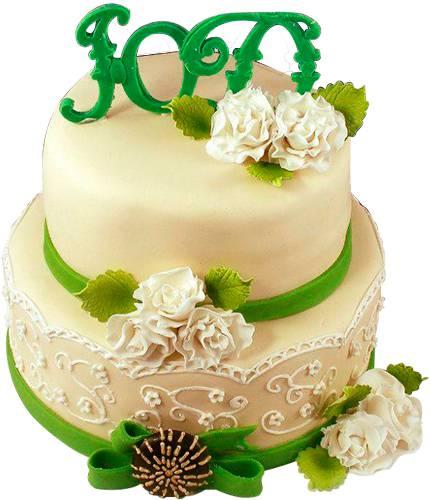 Торт с зелеными лентами