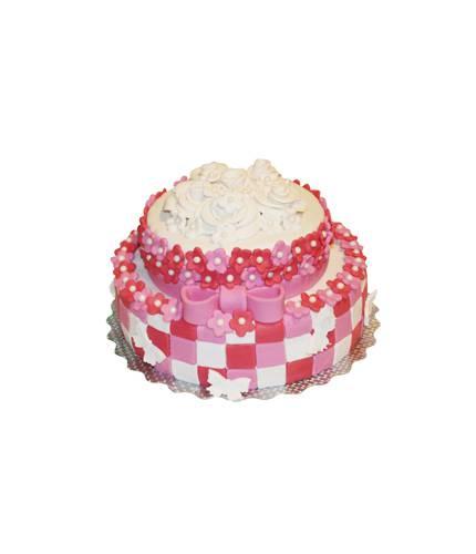 Торт с цветами и бантиками