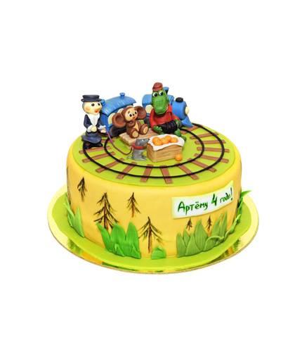 Торт с крокодилом Геной и Чебурашкой