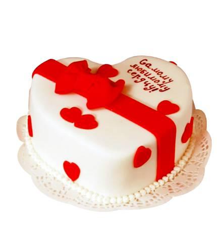 Торт сердце с бантом
