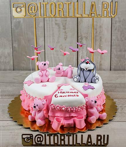 Торт с розовыми мишками