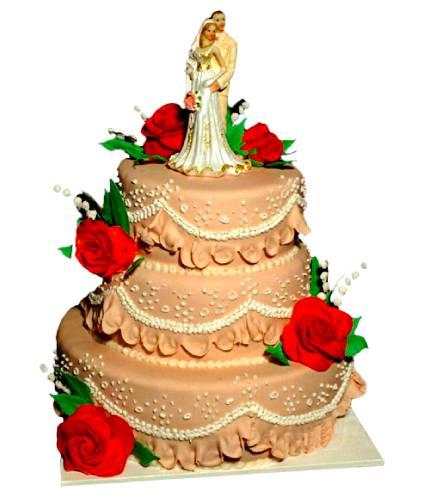 Торт с большими красными розами