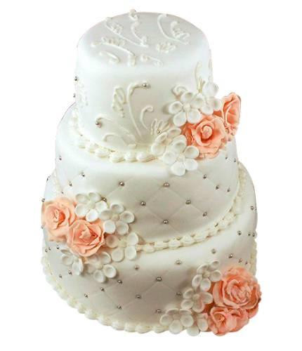 Торт с коралловыми розами