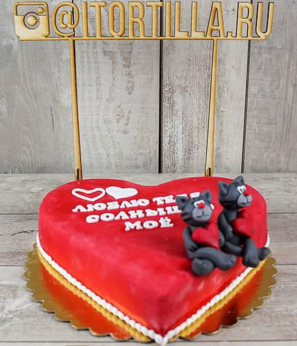 Торт котики на сердце